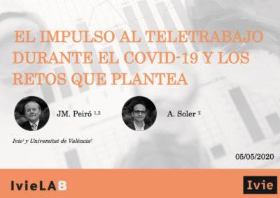 El teletrabajo pasa del 4,8% al 34% por la crisis COVID-19: informe Ivie